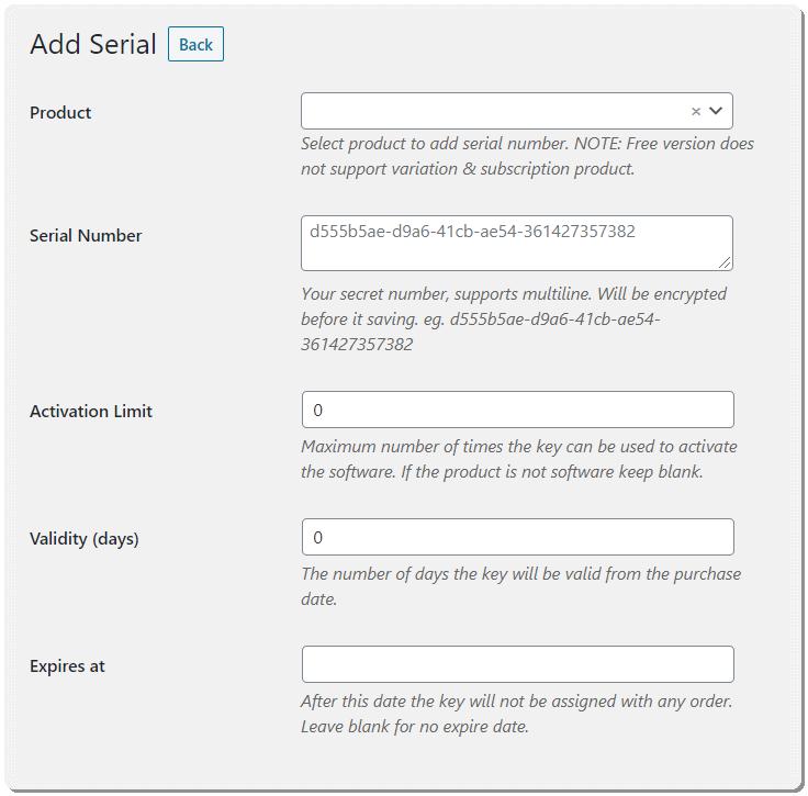 Add serial numbers manually in WooCommerce Serial Numbers