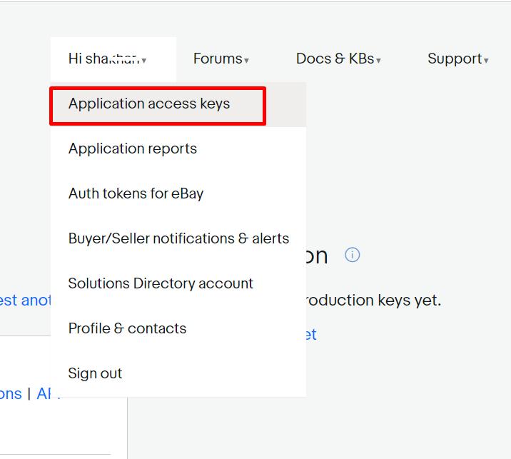 Application access keys eBay