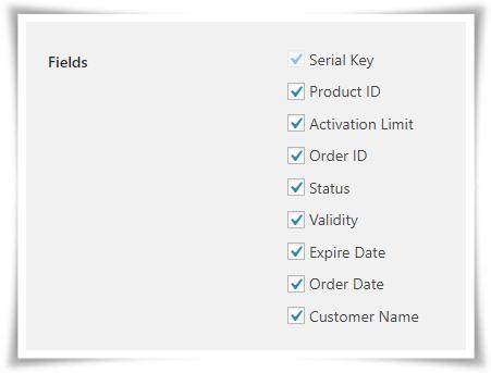 Export serial Numbers fields