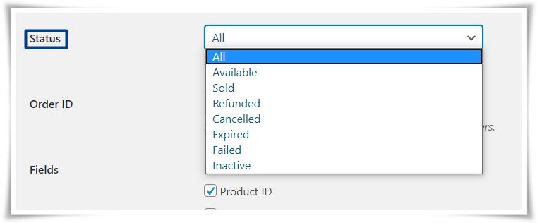 Export Serial Number by Status