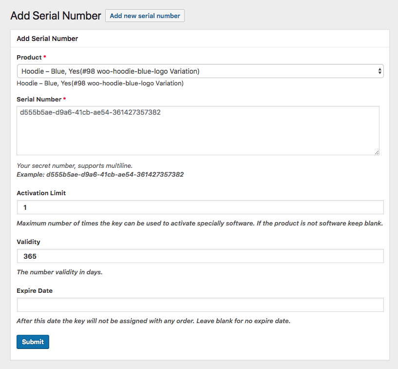 """""""Add Serial Number"""" will show up on your WordPress sidebar"""