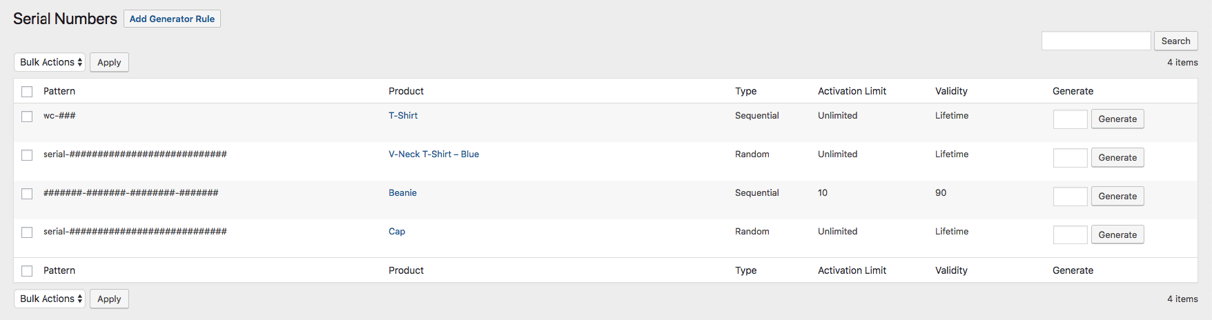 You can generate bulk serial numbers from a custom pattern