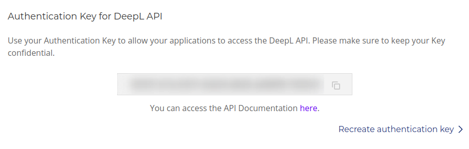 DeepL API in your account section
