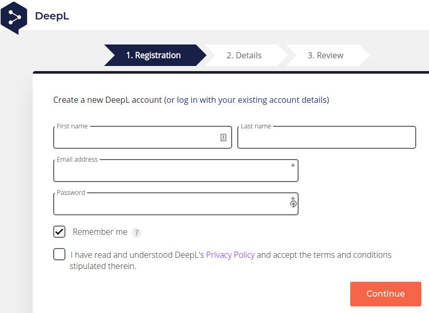 DeepL registration window