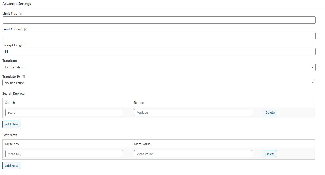 WP Content Pilot Advanced Settings
