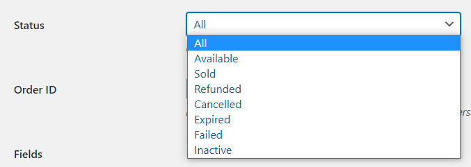 WooCommerce Serial Number choose status to export