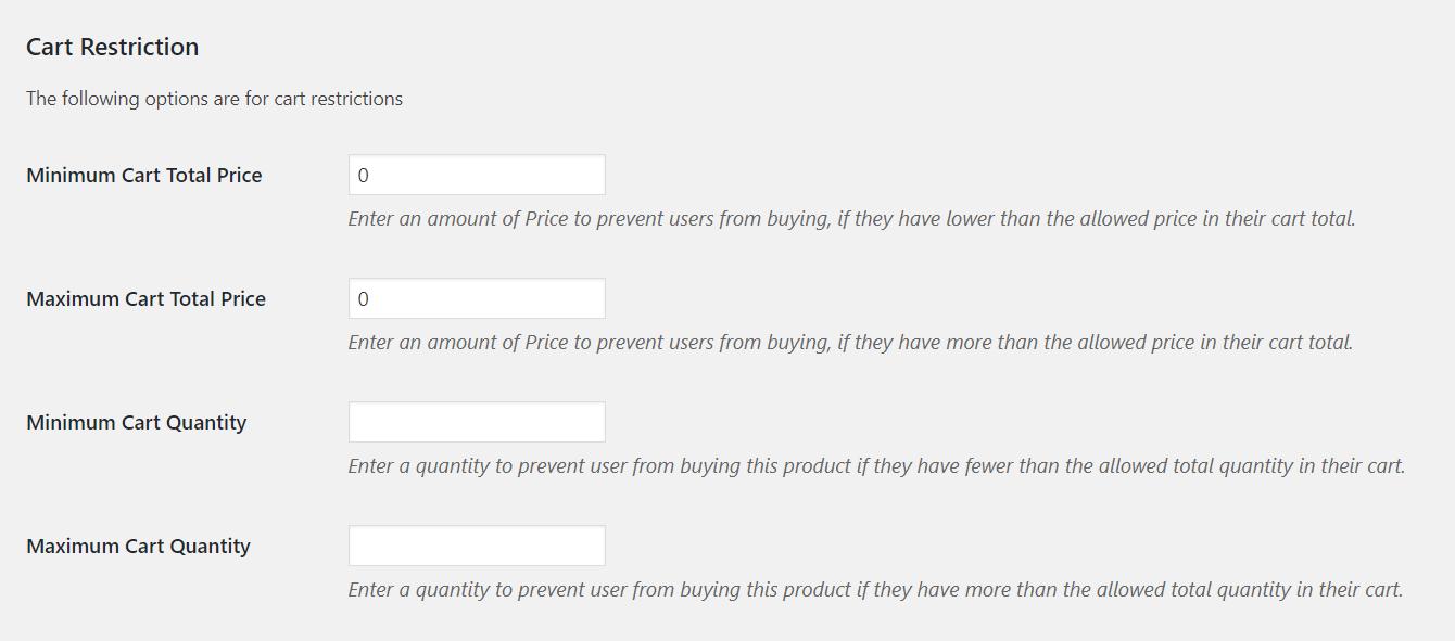 Cart Min-Max price Quantity