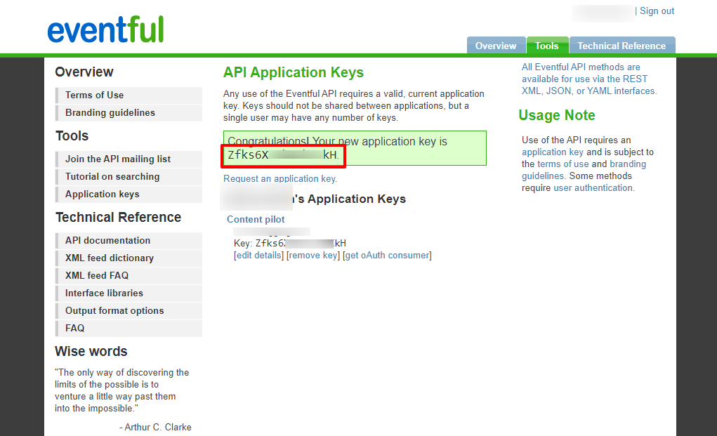 Eventful generated API key page