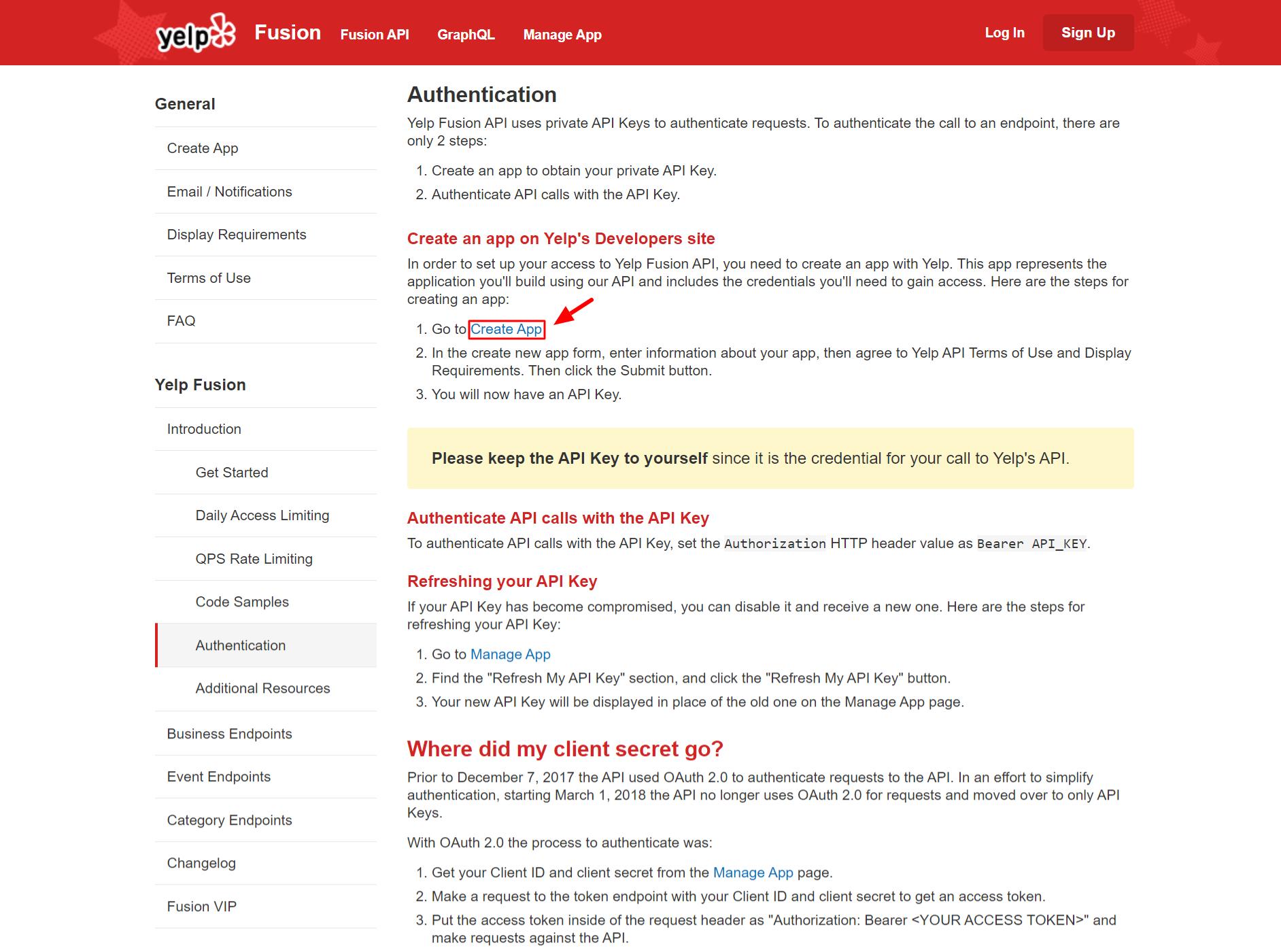 Create App Yelp APi key