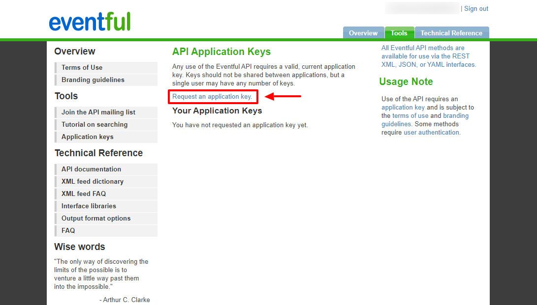 Request an Eventful API key