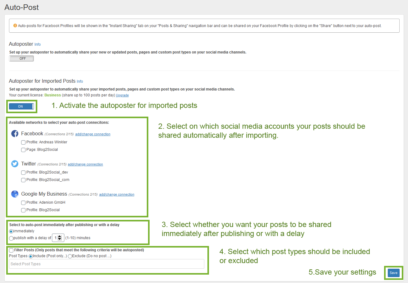 Activate autoposter for imported social media rss feeds