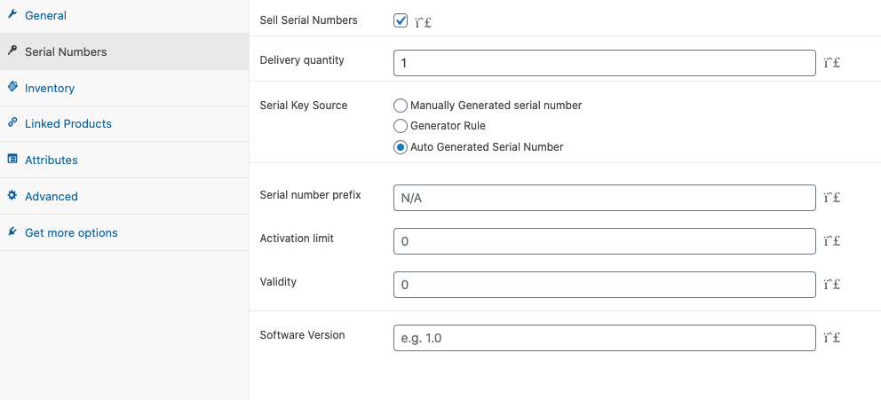 WooCommerce Serial Number - Auto generate Serial Number